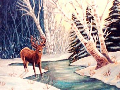 Winters Deer Painting by Lois Sallans