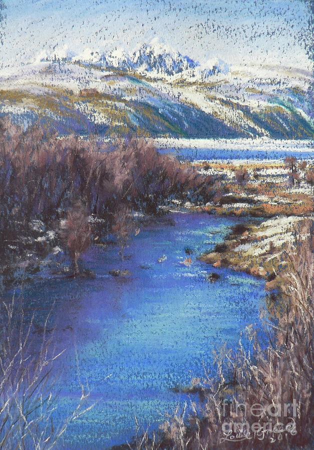 Jackson Pastel - Winters Edge, Flat Creek Jackson by Louise Green