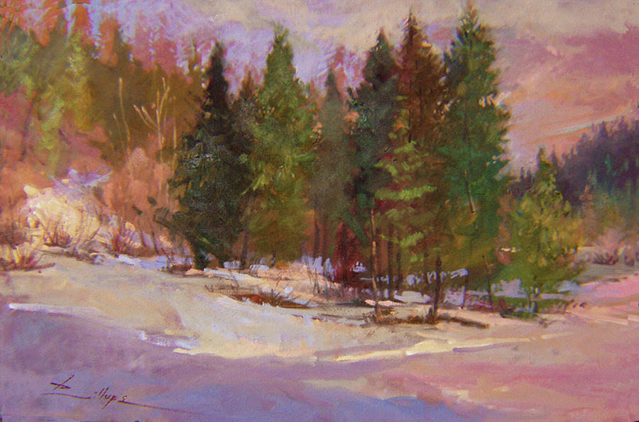 Plein Air Painting Painting - Winters Eve Plein Air by Betty Jean Billups