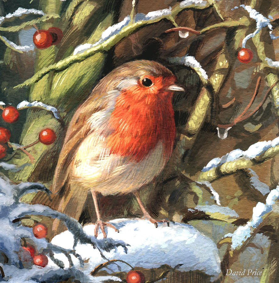 Christmas Painting - Winters Friend by David Price