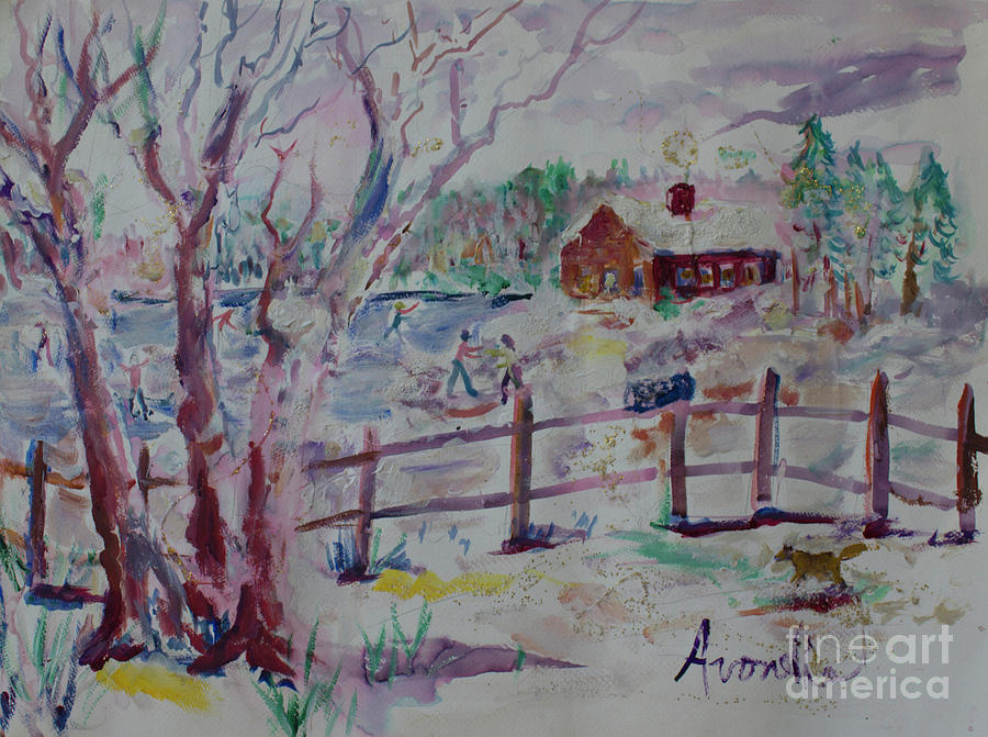 Ice Skating Painting - Winters Joys by Avonelle Kelsey