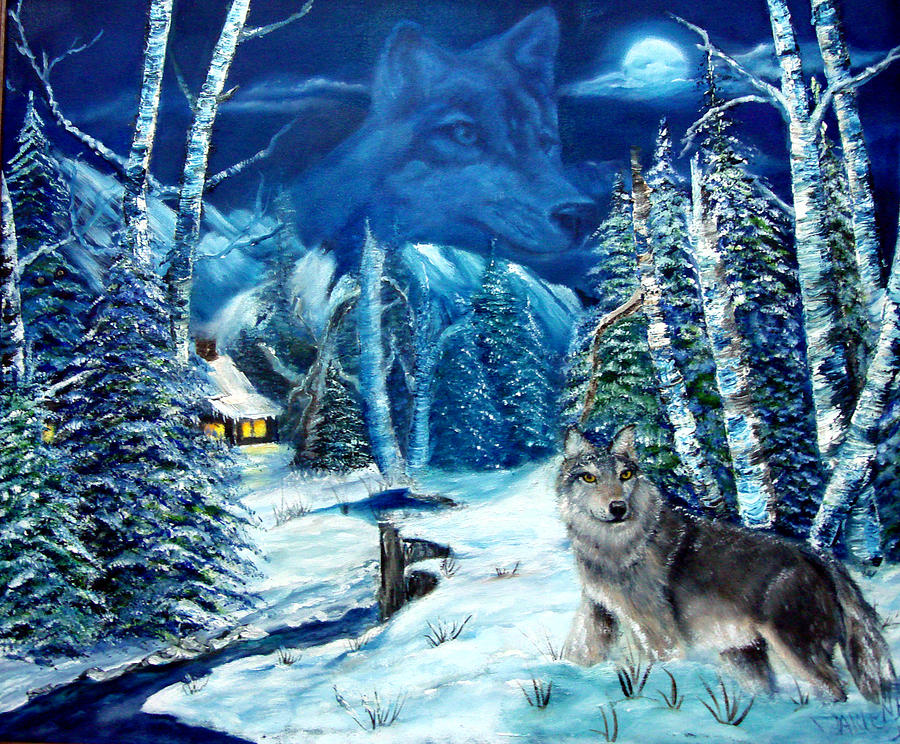Wolf Painting - Winters Night 2 by Darlene Green