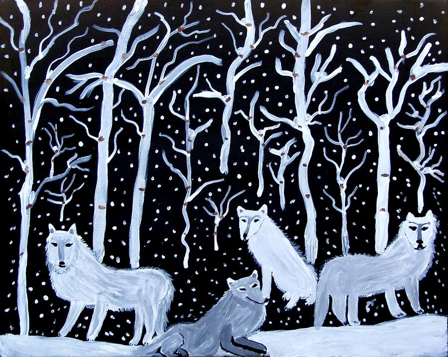 Wolves Painting - Winters Sentinels by Betty J Roberts