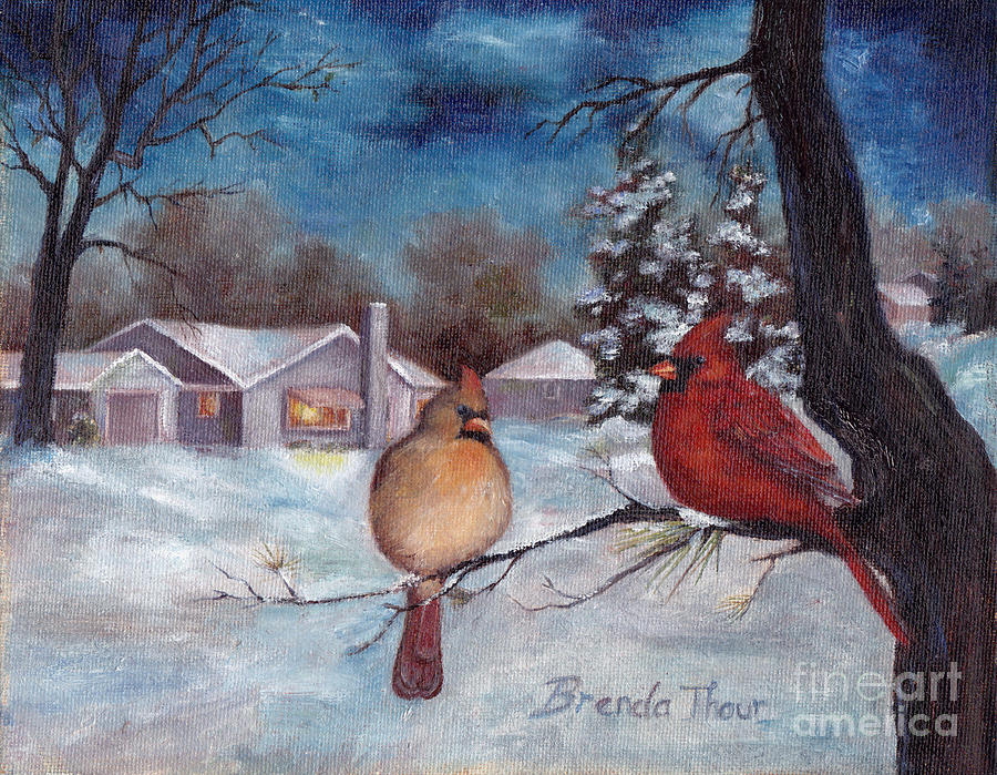 Cardinals Painting - Winters Serenity by Brenda Thour