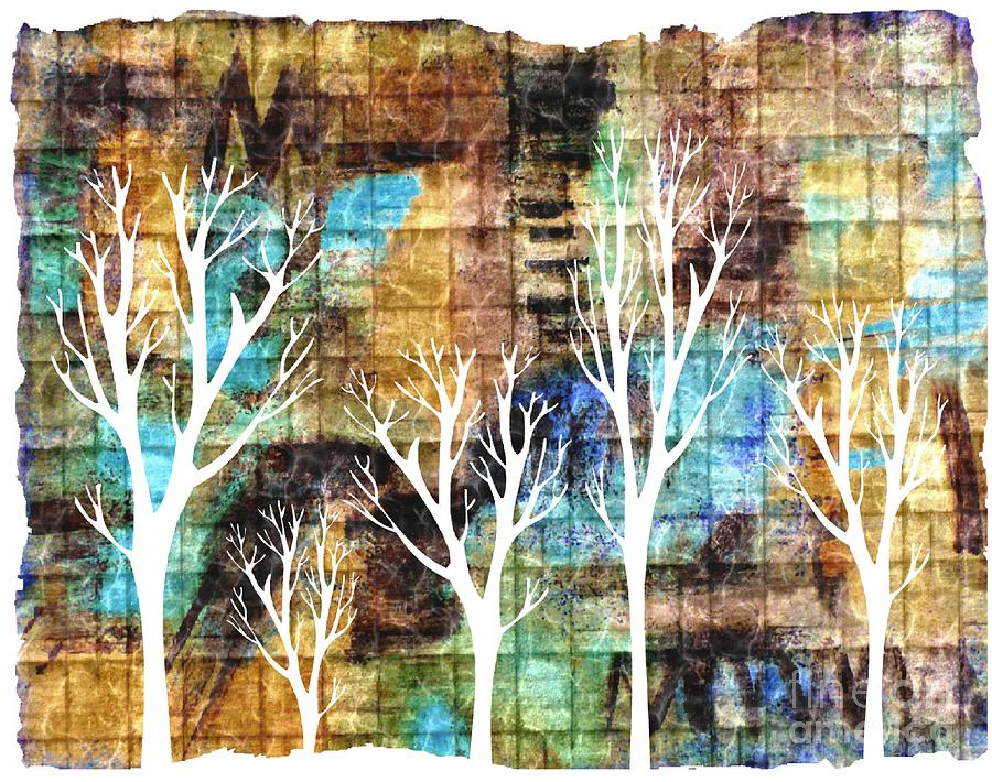 Trees Mixed Media - Winterscape 2 by Mimo Krouzian