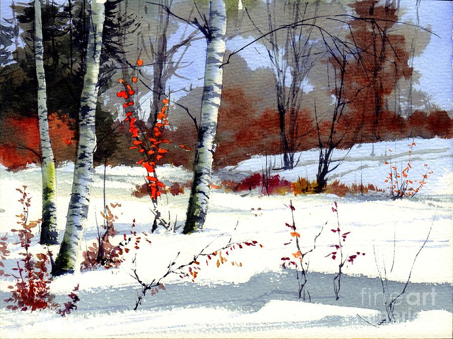 Village Painting - Wintertime Painting by Suzann Sines