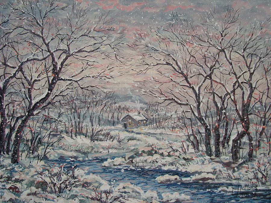 Landscape Painting - Wintery December by Leonard Holland