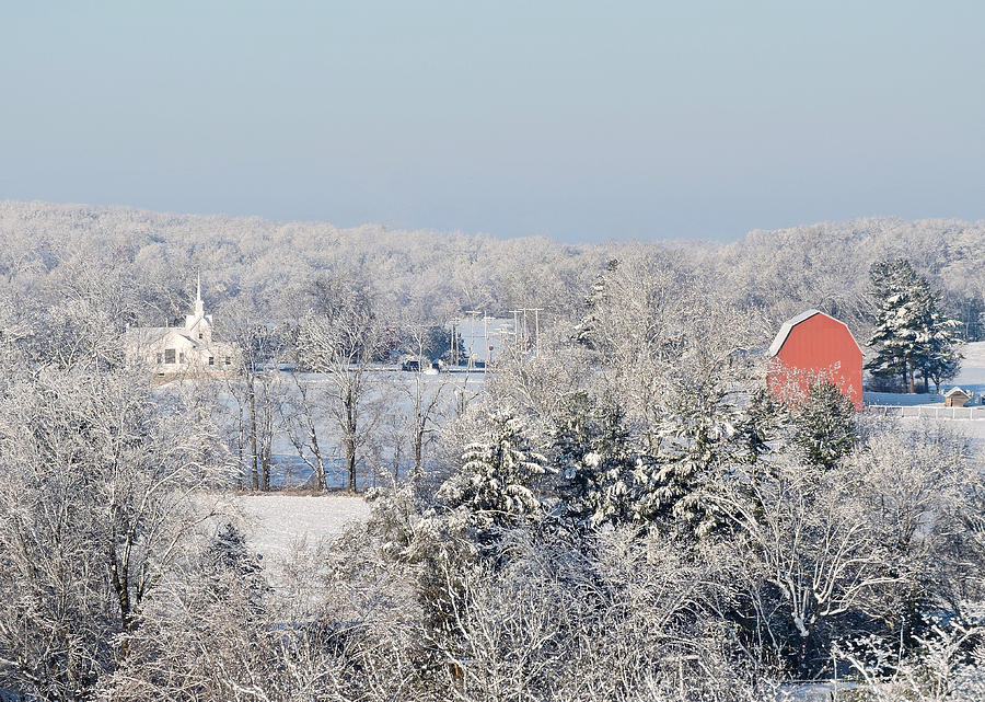 Red Barn Photograph - Wintry Peoria by Regine Brindle