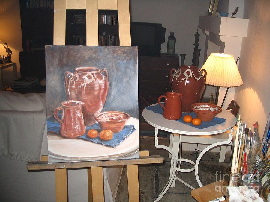 WIP oil painting still life by Yvonne Ayoub