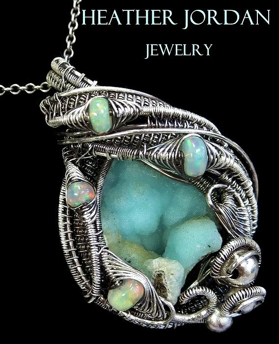 Wire-wrapped Botyroidal Hemimorphite Druzy Pendant In Antiqued ...