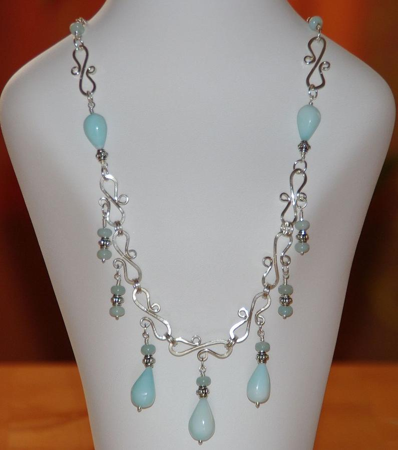 Gemstones Mixed Media - Wire Wrapped Handmade Romantic Blue Peruvian Opal Teardrops  And Sterling Silver Necklace by Nadina Giurgiu
