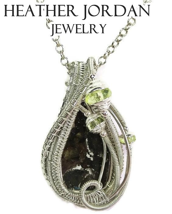 Wire wrapped seymchan pallasite meteorite pendant in sterling silver heather jordan jewelry wire wrapped seymchan pallasite meteorite pendant in sterling silver with uranium aloadofball Images