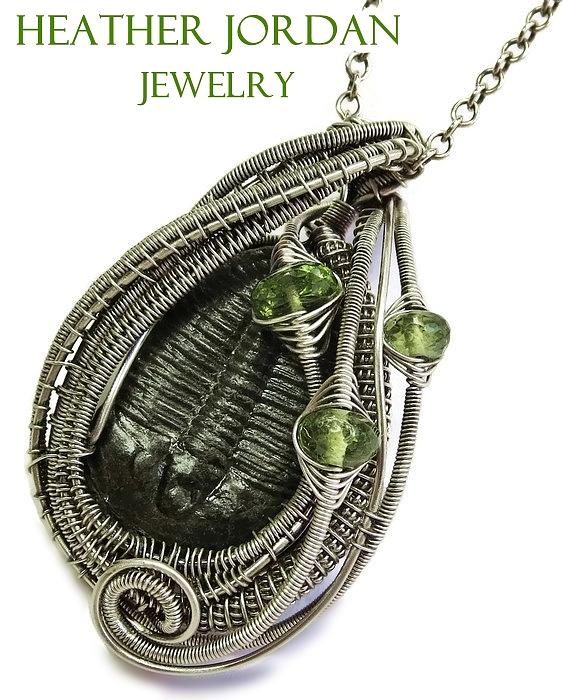 Wire wrapped trilobite fossil pendant in antiqued sterling silver heather jordan jewelry wire wrapped trilobite fossil pendant in antiqued sterling silver with peridot mozeypictures Image collections