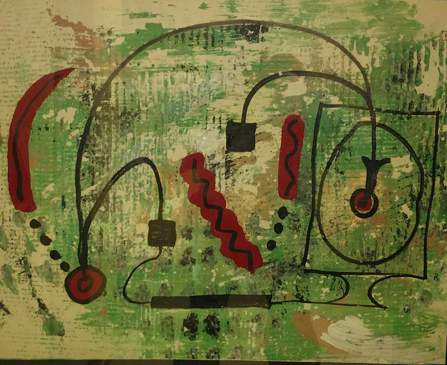 Artificial Intelligence Painting - Wired Composition Enigma by Edward Longo