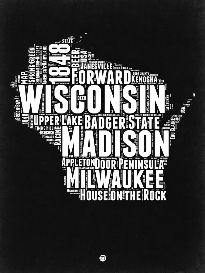 Wisconsin Digital Art - Wisconsin Black And White Word Cloud Map by Naxart Studio