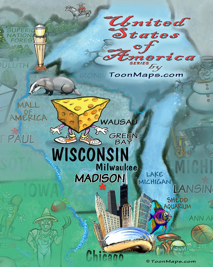 Wisconsin Fun Map Digital Art