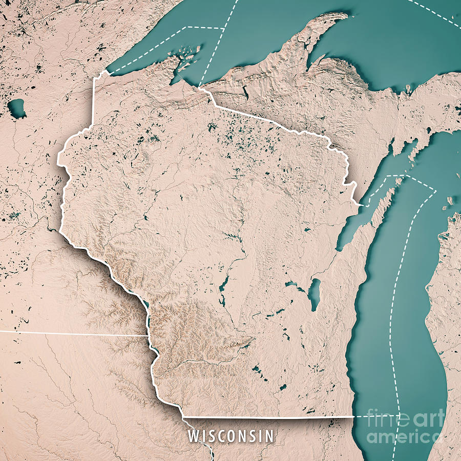 Wisconsin State Usa 3d Render Topographic Map Neutral Border