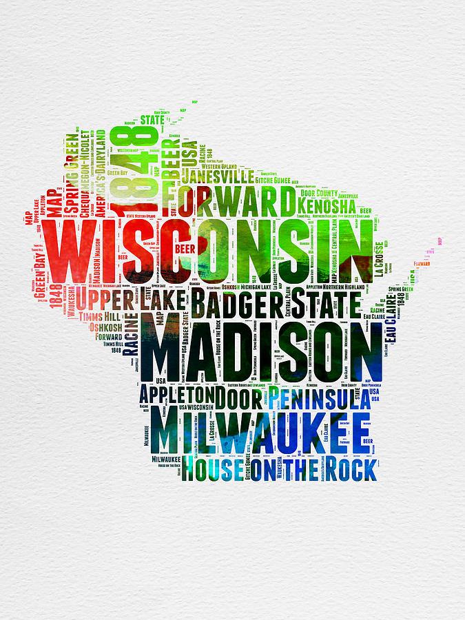 Wisconsin Digital Art - Wisconsin Watercolor Word Cloud Map  by Naxart Studio