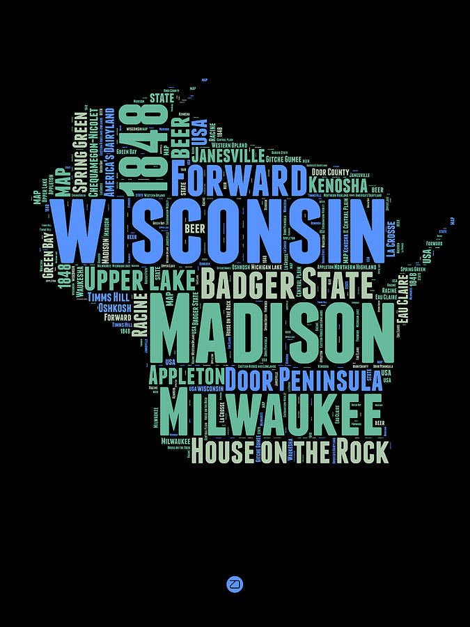 Wisconsin Digital Art - Wisconsin Word Cloud Map 1 by Naxart Studio