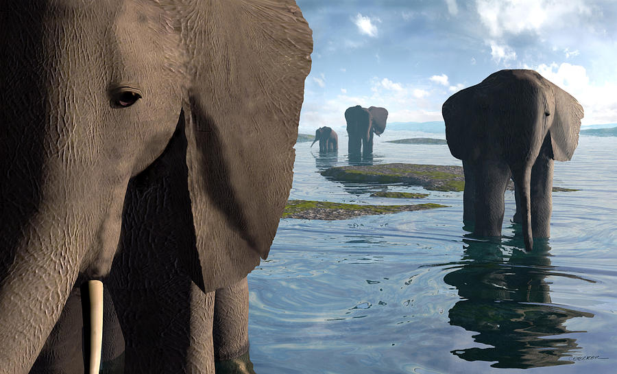Elephant Digital Art - Wisdom by Cynthia Decker