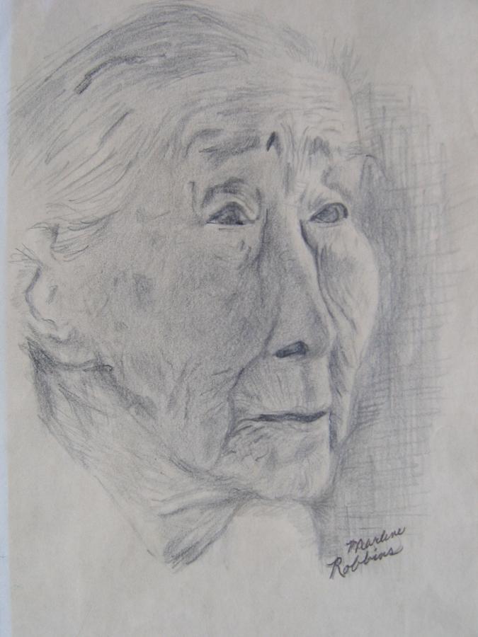 Old Woman Drawing - Wisdom by Marlene Robbins