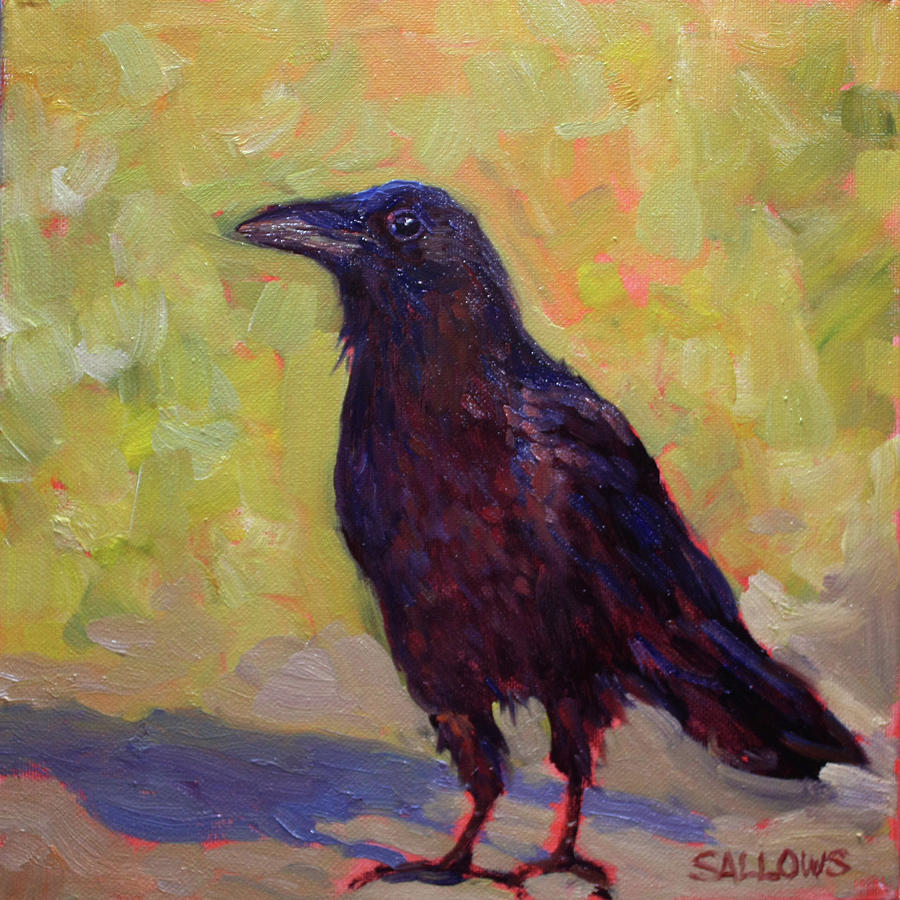 Crow Painting - Wise Crow by Nora Sallows