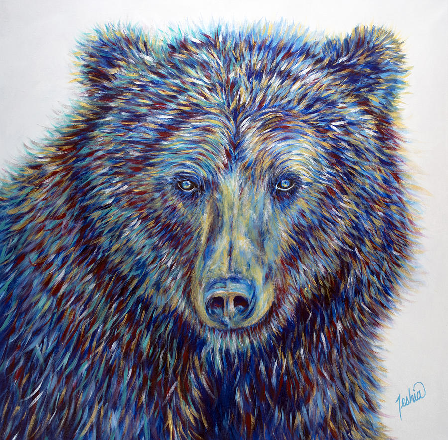 Grizzly Painting - Wise Eyes by Teshia Art