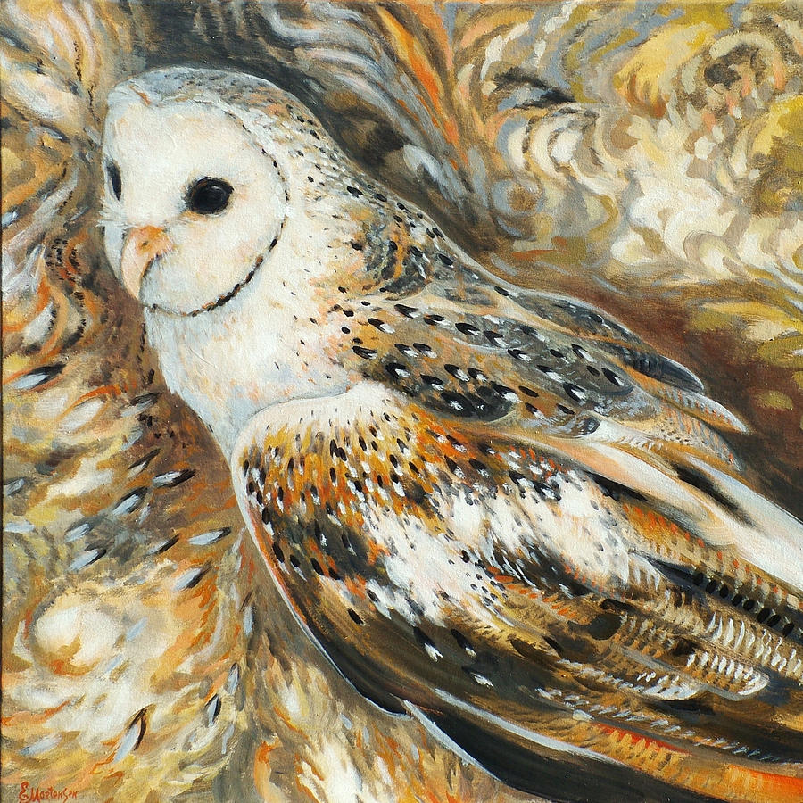 Owl Painting - Wise Owl 4 by Ekaterina Mortensen