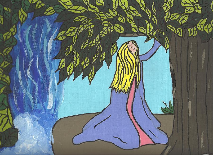 Waterfall Painting - Wishin Tree by Janell Calori