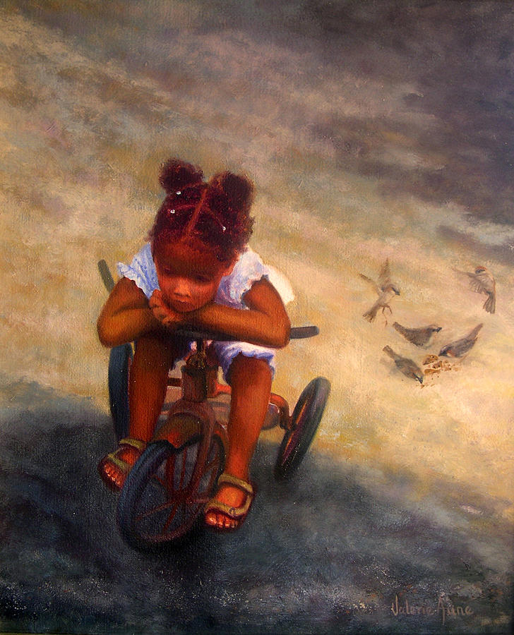 Child Painting - Wishing For Wings by Valerie Aune