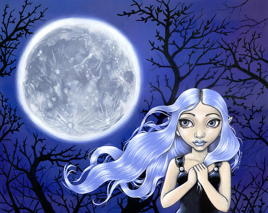 Girl Painting - Wishing On The Moon by Lindsey Cormier