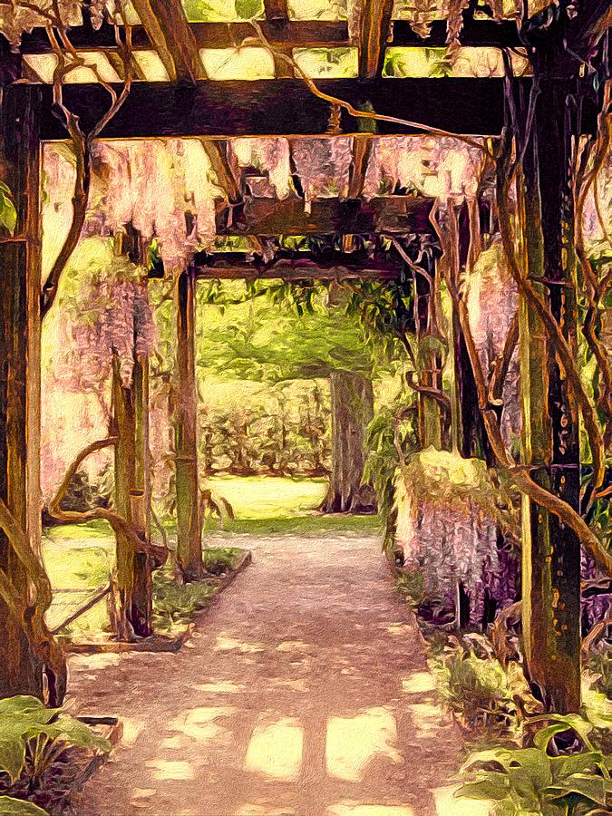 Pennsylvania Landscape Mixed Media - Wisteria In Watercolor by Susan Maxwell Schmidt