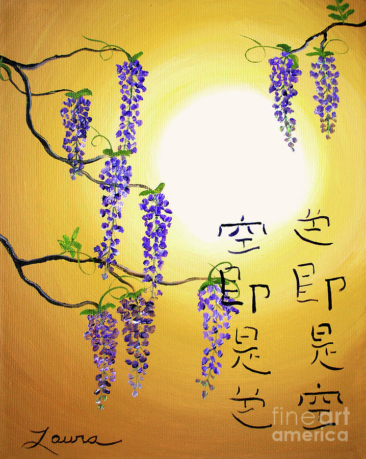 Wisteria Painting - Wisteria With Heart Sutra by Laura Iverson