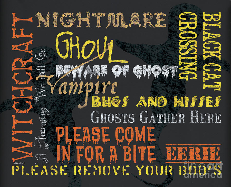 Halloween Painting - Witchcraft Typography by Debbie DeWitt