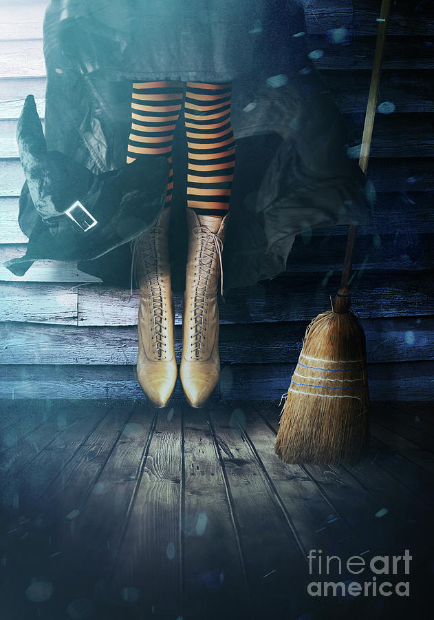 Witch's legs with broom by Sandra Cunningham
