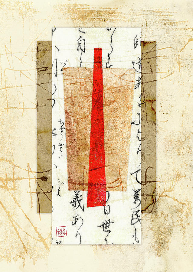 Japan Mixed Media - With A Touch Of Red by Carol Leigh