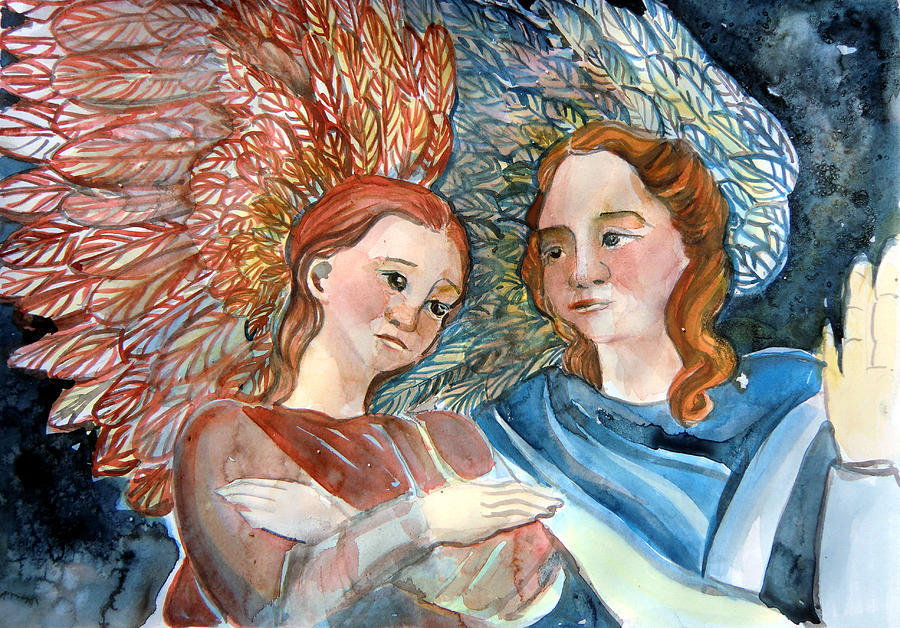 Angels Painting - With Peace On Earth by Mindy Newman