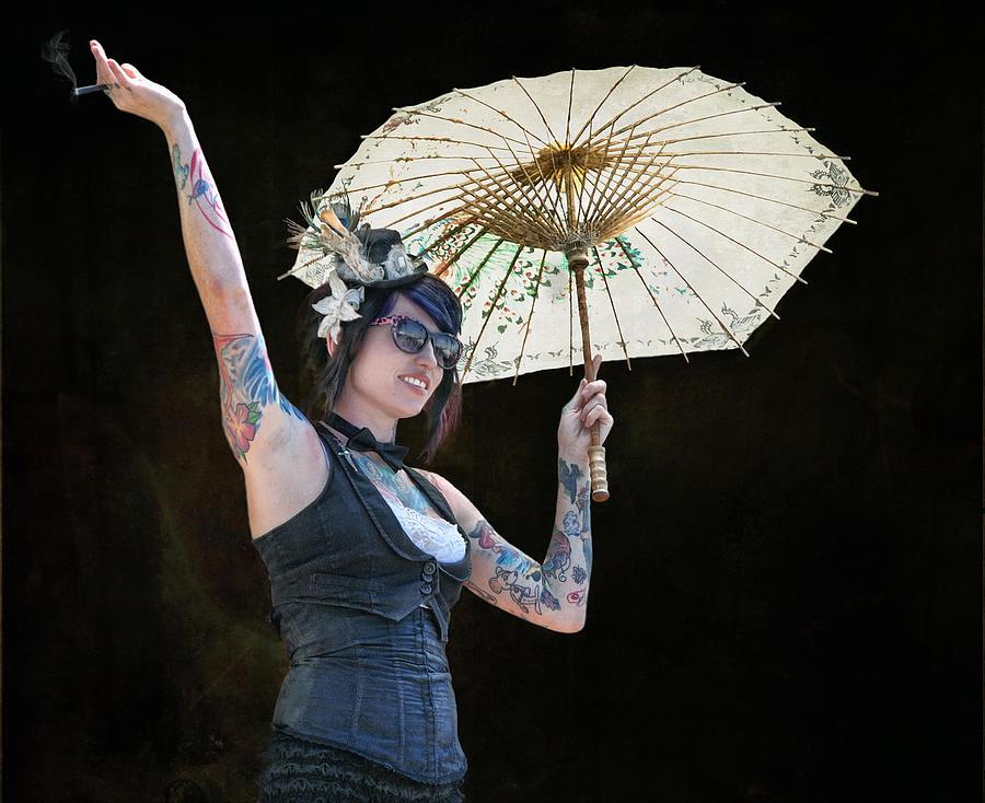 Umbrella Photograph - With Umbrella And Cigar In Hand .... by Bob Kramer