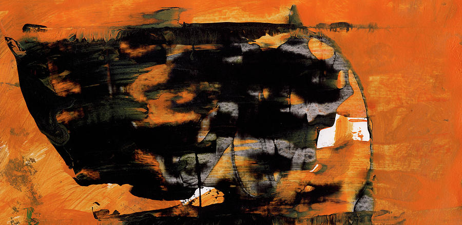 Within Orange And Black Abstract Painting