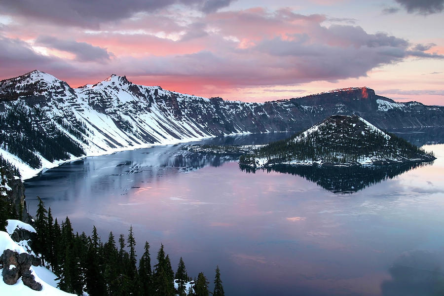 Sunrise over Crater Lake and Wizard Island in Oregon