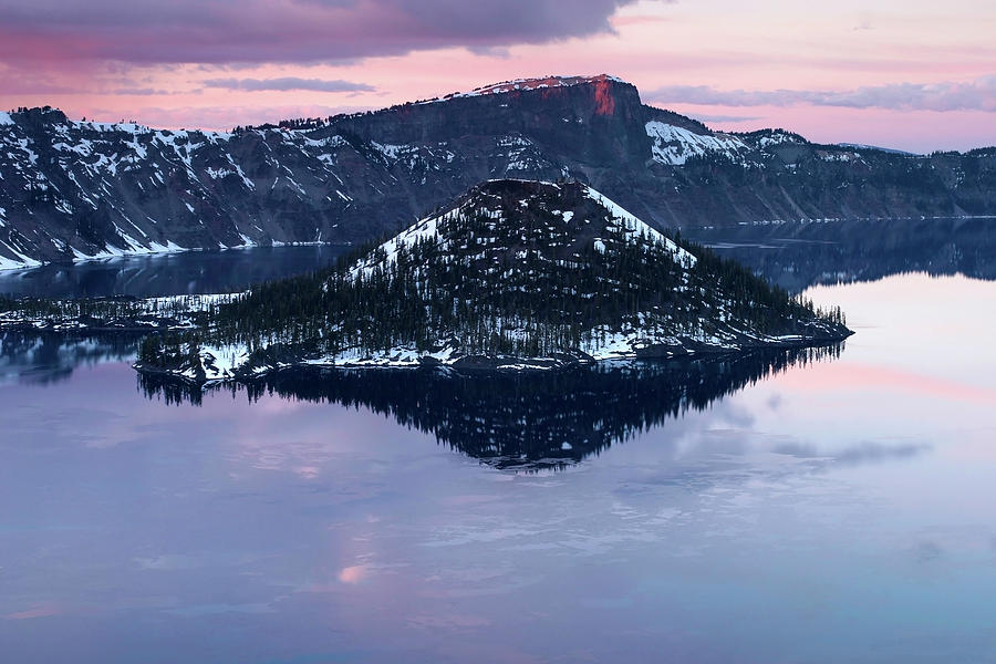 Nature: Sunrise Over Crater Lake And Wizard Island, Crater