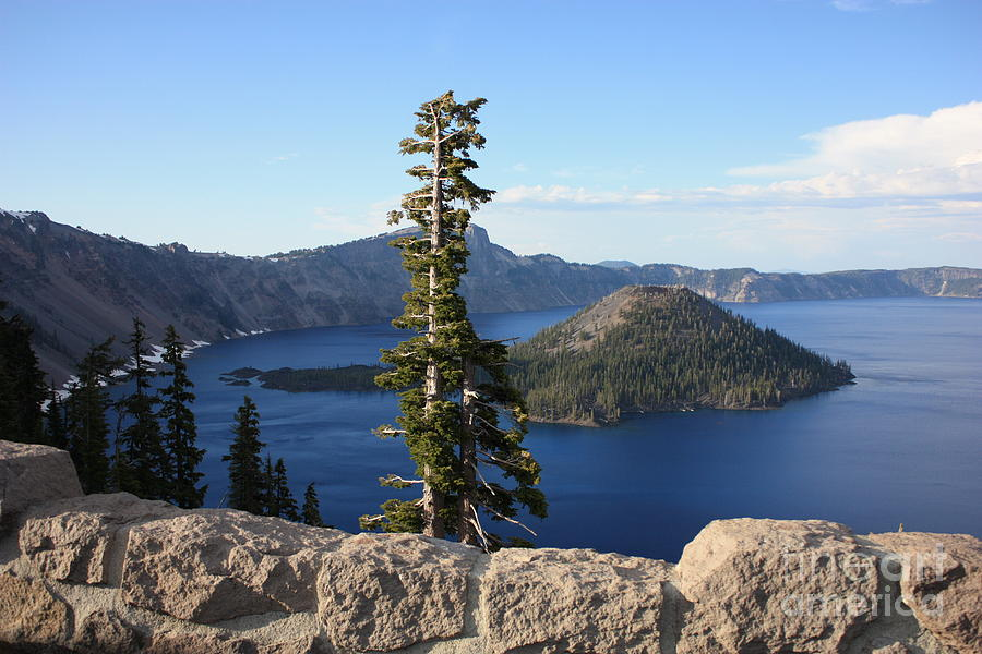 Wizard Island Photograph - Wizard Island With Rock Fence At Crater Lake by Carol Groenen