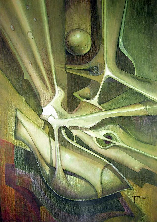 Abstract Painting - Wl1989dc004 New Dimension Of The Light 26 X 37.6 by Alfredo Da Silva
