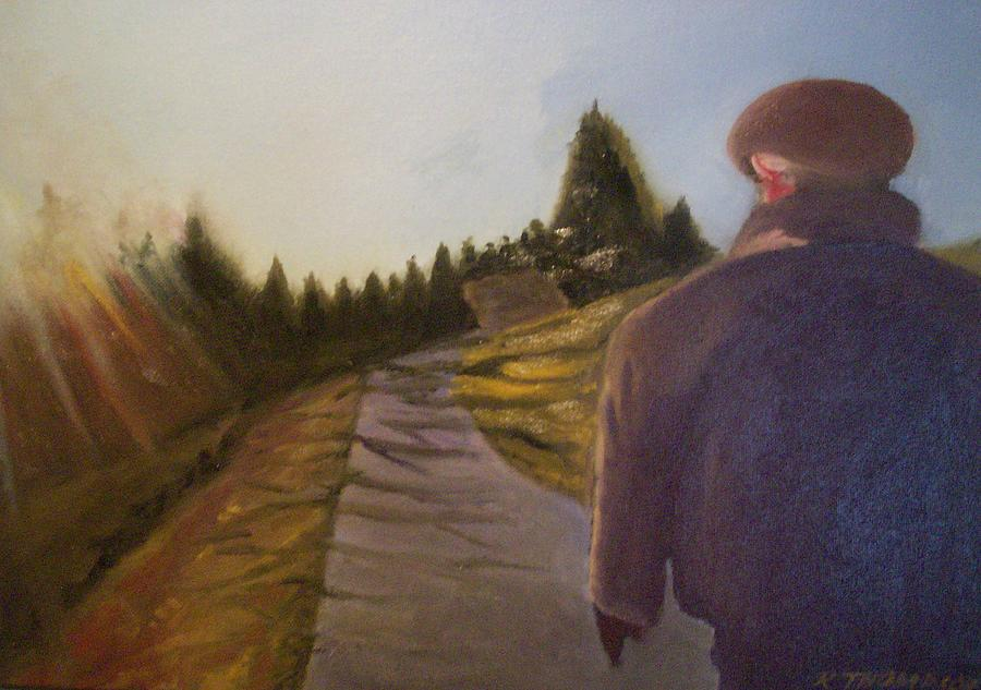Landscape Painting - Wnter Walk by Karen Thompson