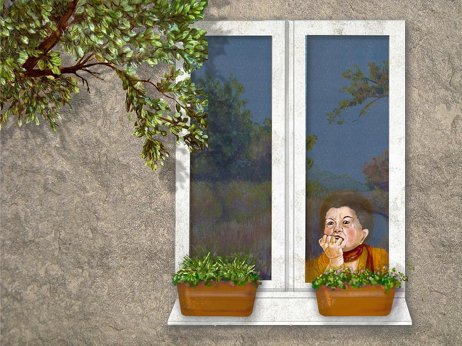Woman Digital Art - Woman In Window by Dorothy Riley