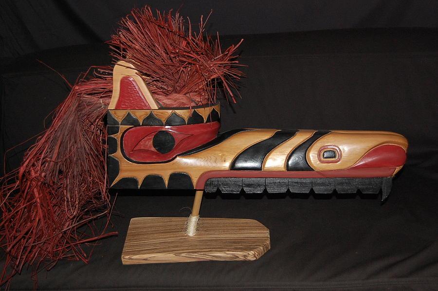 Wood Carving Sculpture - Wolf - Salmon by Owen Lohrenz