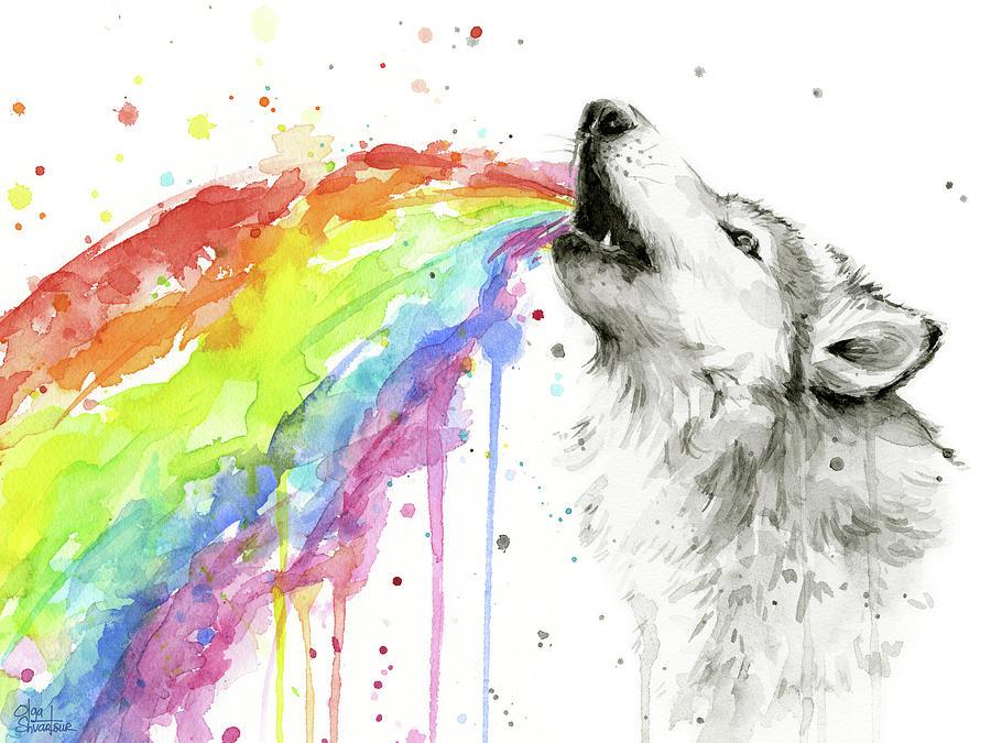 Wolf And Rainbow Painting By Olga Shvartsur