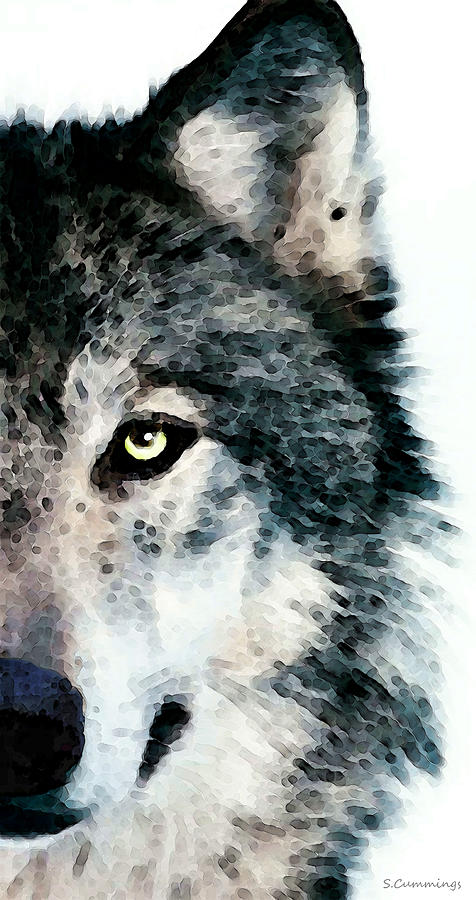 Wolf Painting - Wolf Art - Timber by Sharon Cummings