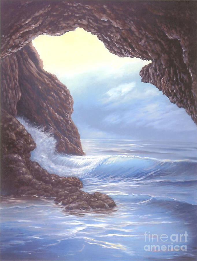 Seascape Painting - Wolf Cave by Susan Elizabeth Wolding