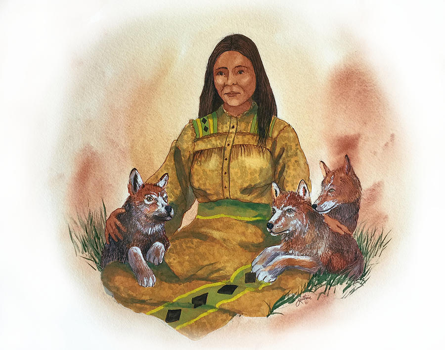 Cherokee Painting - Wolf Clan Mother by John Guthrie